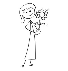 Cartoon of business woman with blooming plant in vector