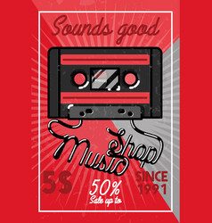 color vintage music shop banner vector image