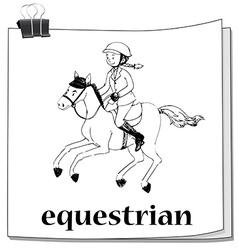 Doodle of girl doing equestrian vector