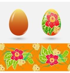 Easter set Painted easter egg and clean Seamless vector image