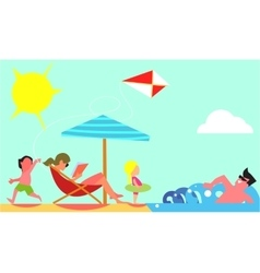 Family Summer Vacation Flat Design Concept vector image