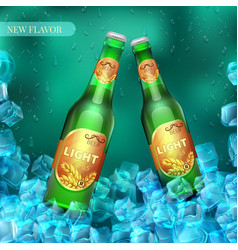 frozen light beer bottles with ice cubes product vector image