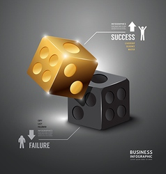 Gold dice infographic template business vector