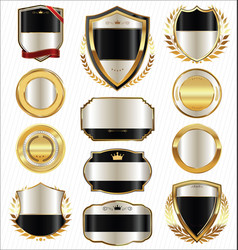 Golden shields laurel wreaths and badges vector