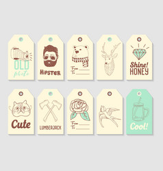 hipster fashion hand drawn tags collection vector image