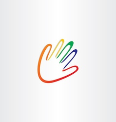 Human hand with color fingers vector