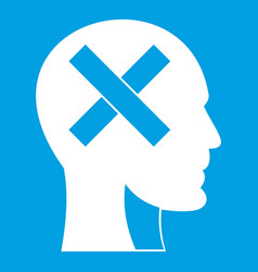 Human head with cross inside icon white vector