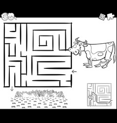 Maze with cow for coloring vector