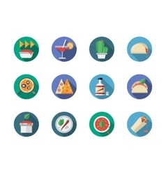 Mexican restaurant round flat color icons vector image vector image
