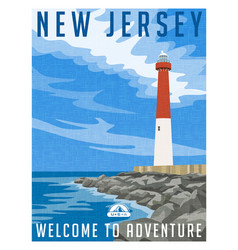 new jersey travel poster vector image vector image