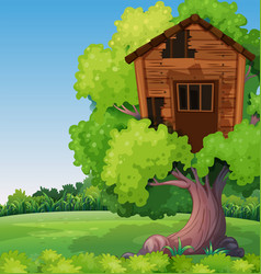 Old treehouse on the tree in park vector