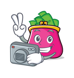 Photographer purse character cartoon style vector