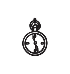 Pocket watch sketch icon vector