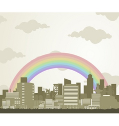 rainbow over a city vector image vector image