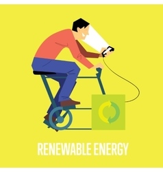 Renewable energy concept man with generator vector