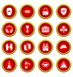 safety icon red circle set vector image