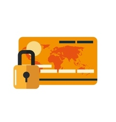 safety lock and credit card icon vector image