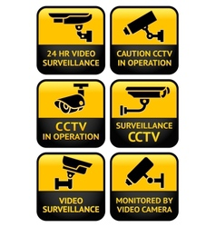 Security camera sign set vector image vector image