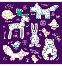 Set forest animals and birds vector image