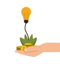 Shelter hand with plant money lightbulb idea icon vector