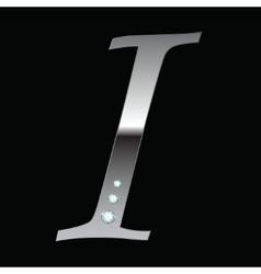 silver metallic letter I vector image vector image