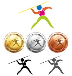 Sport icon design for javelin and medals vector image vector image