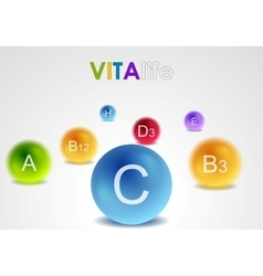 Vitamins colorful balls background vector image