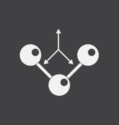 White icon on black background molecule and arrows vector