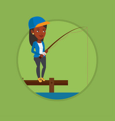 Woman fishing on jetty vector