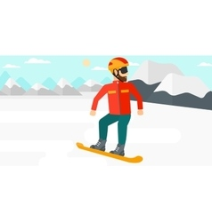 Young man snowboarding vector image vector image