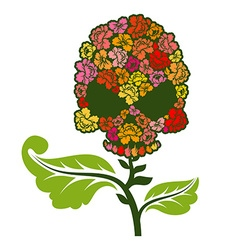 Floral skull on stem skull with roses vector