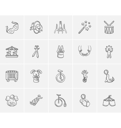 Circus sketch icon set vector