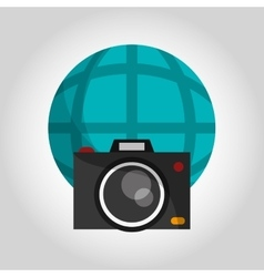 photographic camera and earth globe diagram icon vector image