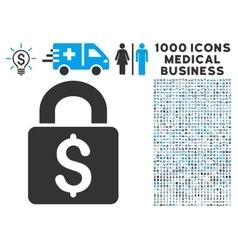 Pay lock icon with 1000 medical business symbols vector