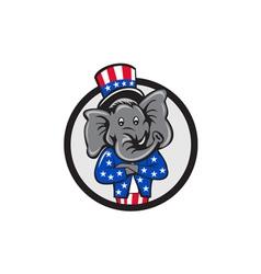 Republican elephant mascot arms crossed circle vector