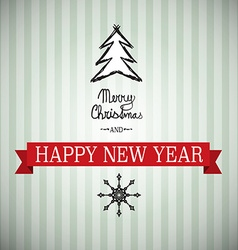 Merry christmas and happy new year xmas card tree vector