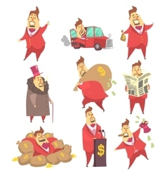 Millionaire rich man funny cartoon character and vector