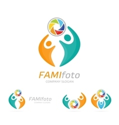 photo camera and people logo combination vector image