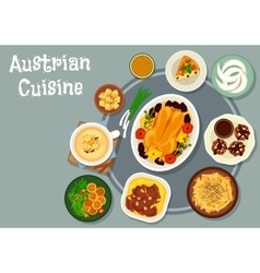 Austrian cuisine dinner icon for menu design vector