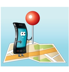 Smartphone with gps icon vector