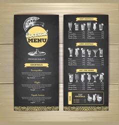 chalk drawing cocktail menu design corporate vector image