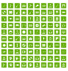 100 audience icons set grunge green vector