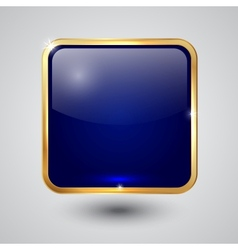 glass square button with round corners and golden vector image