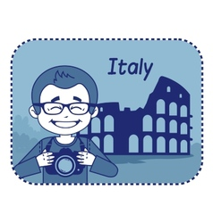 Teaser with photographer travels through italy vector