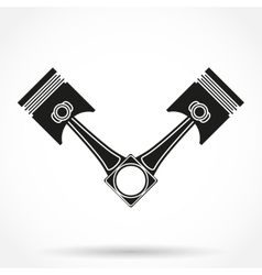 Silhouette symbol of car engine pistons Isolated vector image