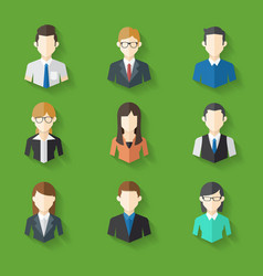Icons set of male female faces in business theme vector