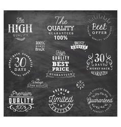 Premium Quality Badges and Labels on Chalkboard vector image