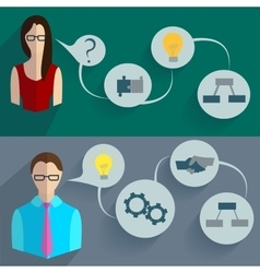 Business people thinking infographics vector