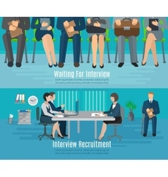 Hiring process banner set vector