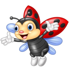 Ladybug waving hand with wing vector